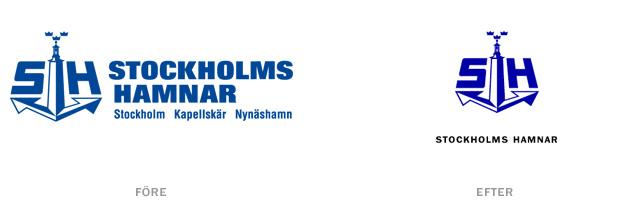 Stockholms Hamnars logotyp – före och efter