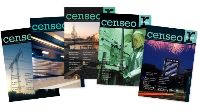 Olika omslag för Reteas kundtidning Censeo