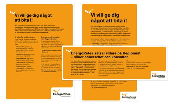 Platsannonser i olika format för EnergoRetea