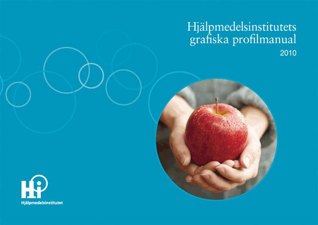 Omslaget till Hjälpmedelsinstitutets grafiska profilmanual