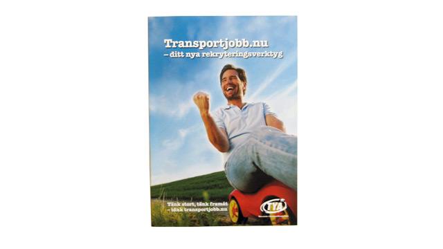 Omslaget till folder om Transportjobb.nu