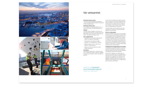 Ett uppslag ur Stockholms Hamnars årsredovisning 2010