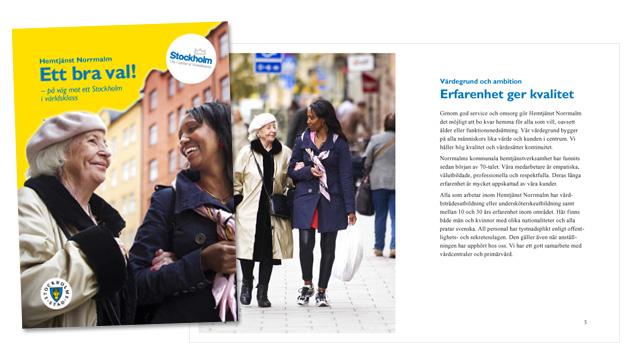 Omslaget och ett uppslag ur broschyren Hemstjänst Norrmalm – Ett bra val!