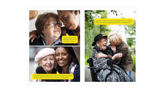 Ett uppslag ur broschyren Hemstjänst Norrmalm – Ett bra val!