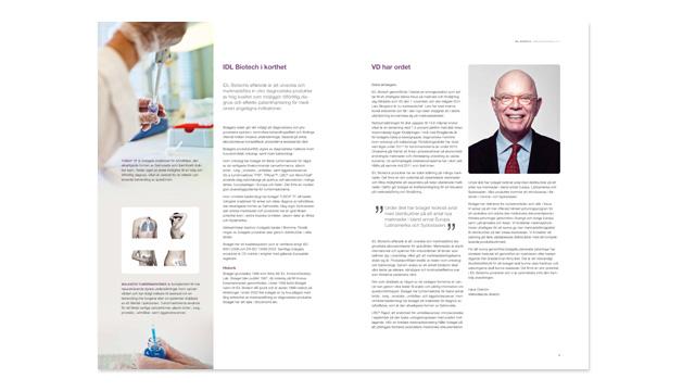 Ett uppslag ur IDL Biotechs årsredovisning