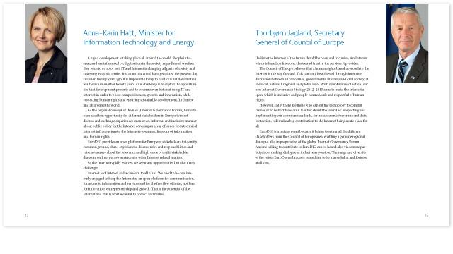 Ett uppslag ur broschyren för EuroDig-konferensen i Stockholm 2012