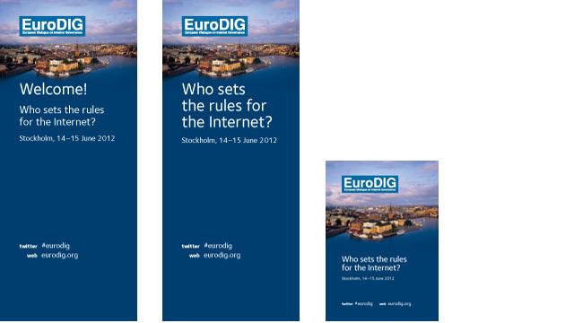 Rullplansch och affisch för EuroDig-konferensen i Stockholm 2012