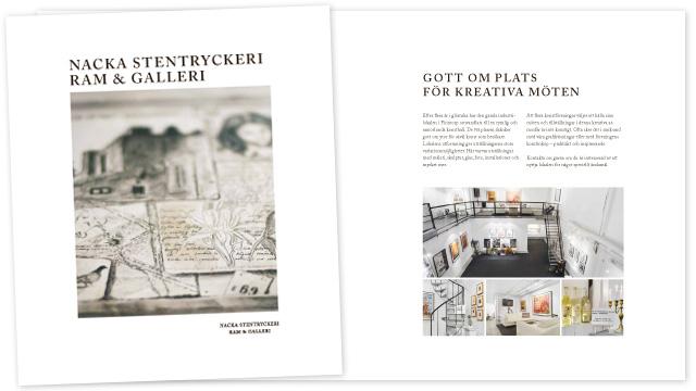 Nacka Stentryckeri - broschyr omslag och del av inlaga