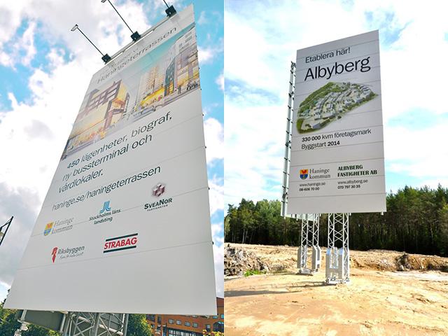 Byggskyltar Haningeterrassen och Albyberg