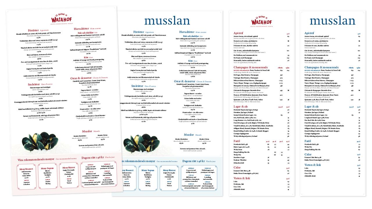 Wasahof och Musslan – menyer